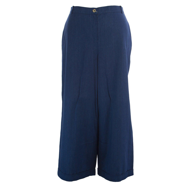 Marina Rinaldi Women's Rodi Wide Leg Flax Pants 20W / 29 Navy