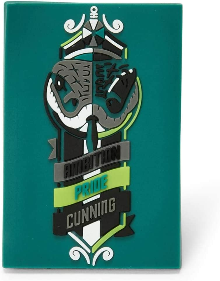 Harry Potter Hogwarts House Slytherin Magnet - 3-Inch Plastic Crest with Banner, Snake & Motto - Kitchen Refrigerator, School Locker Magnets - Home, Classroom Decorations - Great Kids & Adults Gifts