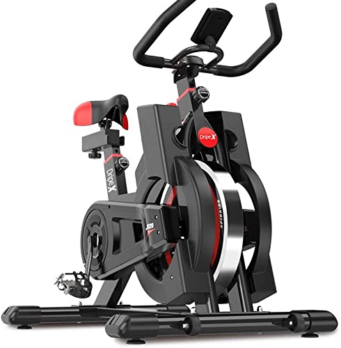 Dripex Upright Exercise Bikes Indoor Studio Cycles – Studio Quality with Heart Rate Monitor, Large Bidirectional Flywheel, Belt Drive, Infinite Resistance, LCD Displays, Hand Pulse