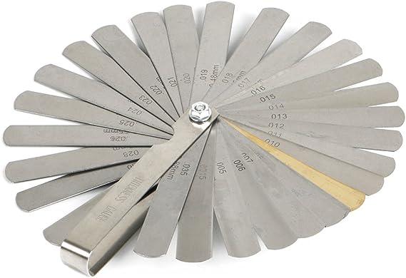 32 Cuchillas Galgas de Espesor Galga de Acero Herramienta de Medici/ón de Doble M/étrica Marcada e Imperial Gap para Motor V/álvula Galgas