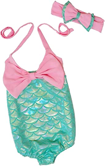 2Pcs Kids Girl Mermaid Swimwear Swimsuit Beachwear Swimming Costume Headband Set