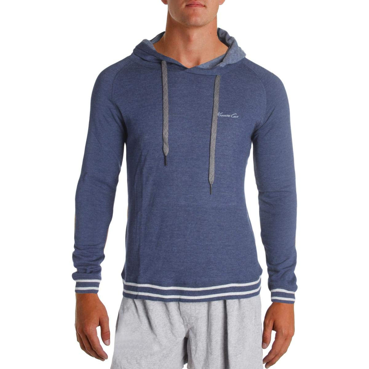 Kenneth Cole New York Men's Waffle Jersey Sleep Hoodie, Medieval Blue, Large