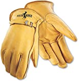 Galeton 25101PR-L 25101PR Rough Rider Premium Leather, Strap & Buckle Driver Gloves, Large, Gold