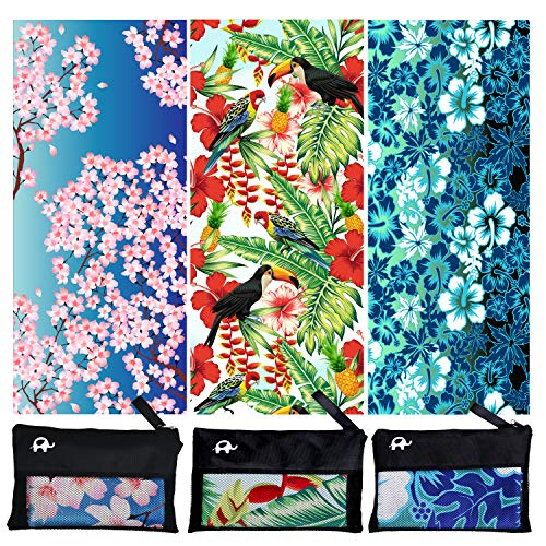 Elite Trend Microfiber Beach Towel for Travel - Oversized XL 78 x 35 Inch Quick Drying, Lightweight, Fast Dry Shower & Body Towels,Sand Free,Perfect (Hibiscus, Extra Large (78X35-INCH)) (Blue Hibiscus Beach Towel)