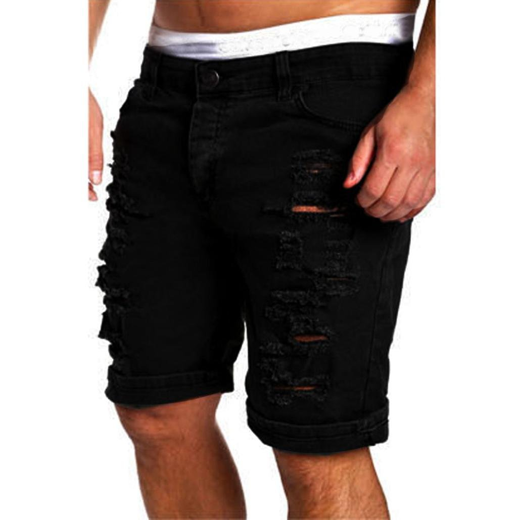 PASATO 2018 New Hot Men's Casual Jeans Destroyed Knee Length Hole Ripped Cotton Pants (Black, XL)
