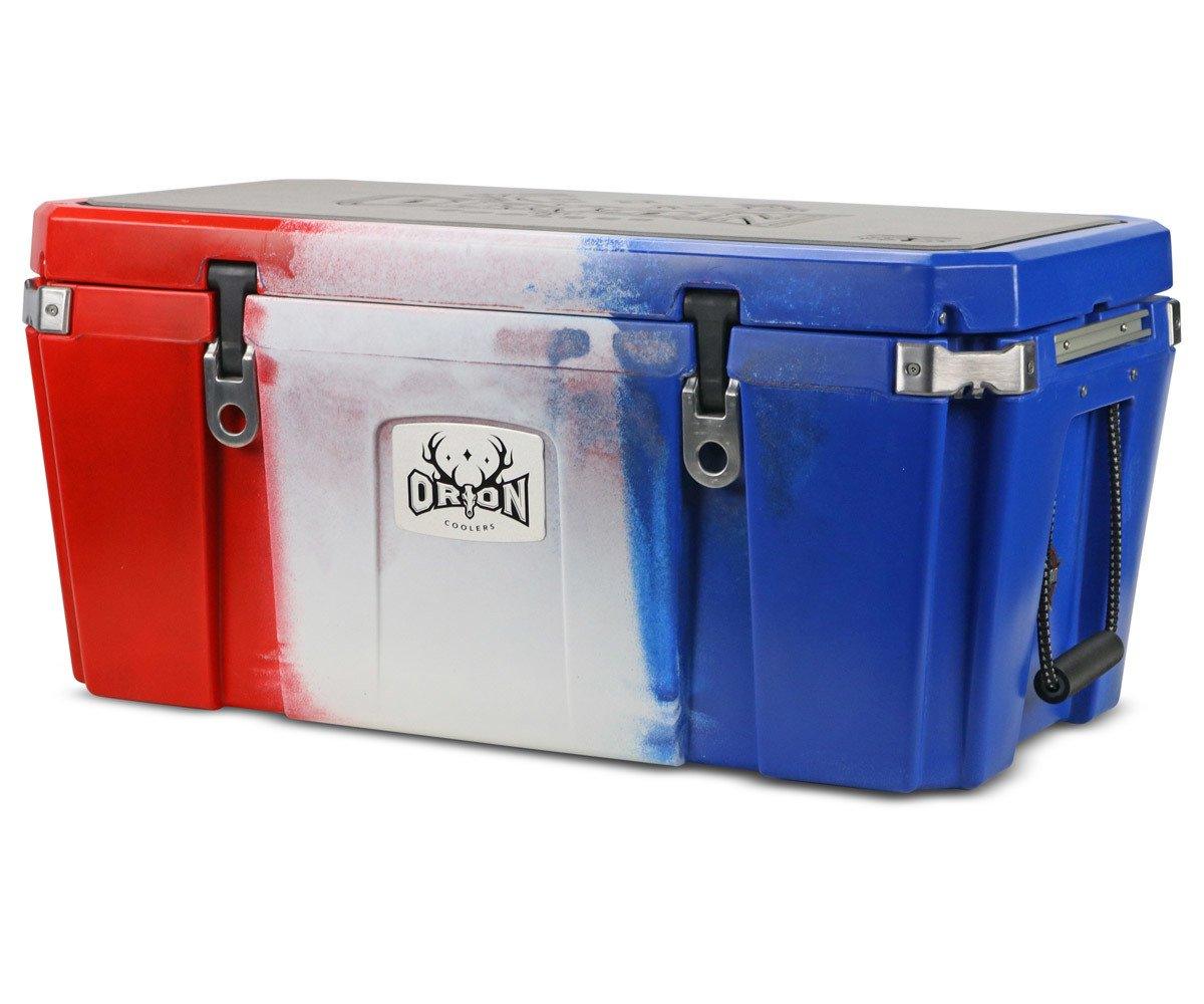 Orion Heavy Duty Premium Cooler 85 Quart, Red-White-Blue , Durable Insulated Outdoor Ice Chest for Maximum Cold Retention – Portable, Bear Resistant, and Long Lasting