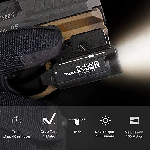 OLIGHT PL-Mini 2 Valkyrie 600 Lumens Magnetic USB Rechargeable Compact Weaponlight with Adjustable Rail, High Performance CW LED Tactical Flashlight with Built-in Battery