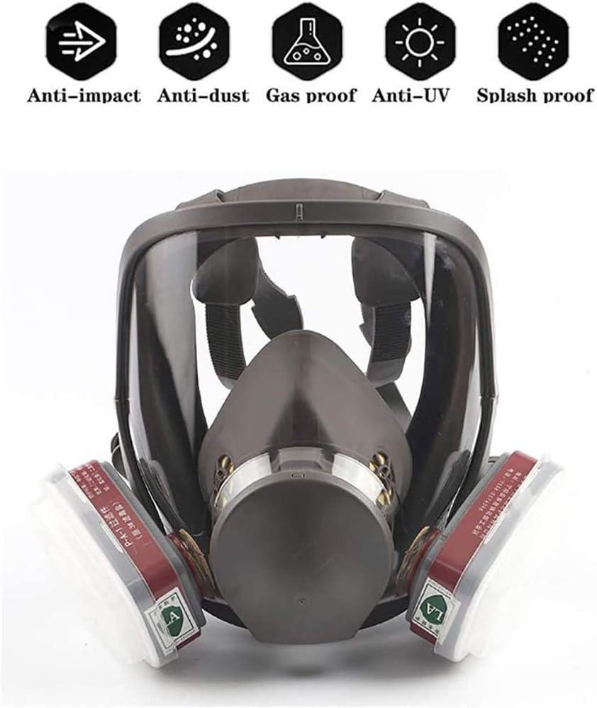 SHENXX Gas Mask - Máscara De Gas Cara Completa Silicona Filtro De Carbón Activado Doble Filtro Protección De Ojos Puede Usarse para Gases Orgánicos Y Vapor Benzofenona Disulfuro De Carbono Etc