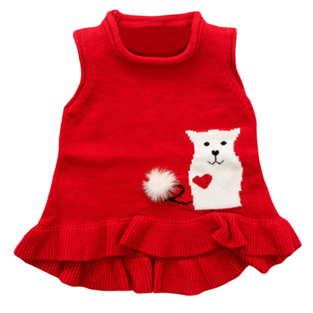 3de8b2822 Amazon.com  Toddler Baby Girl Knitted Sweater Vest Cotton Ruffle ...