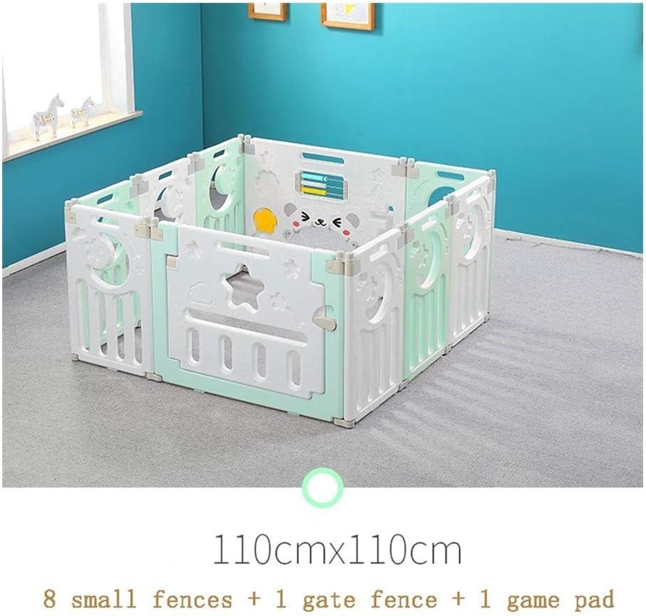AGLZWY ベビーフェンス ベビーサークル アクティビティパネル付き ドア 赤ちゃんと幼児向け カラフルなプラスチックパネル (Color : Green, Size : 110x110cm)