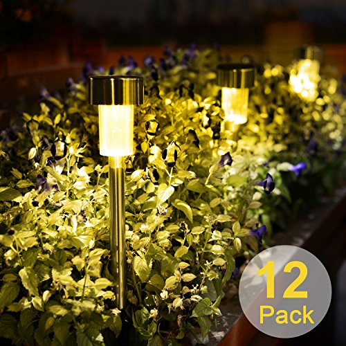 Solar LED Pathway Lights, Stripsun 12 Pack Outdoor Garden Lights with Solar Powered, Stainless Steel Landscape Lighting for Garden Yard Lawn Patio Walkway Driveway (Warm White) Pathway Lighting