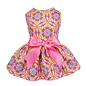 Fitwarm Floral Pet Clothes for Dog Dresses Cat Sundress Vest Shirts Pink Small