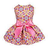 #10: Fitwarm Floral Pet Clothes for Dog Dresses Cat Sundress Vest Shirts Pink Small