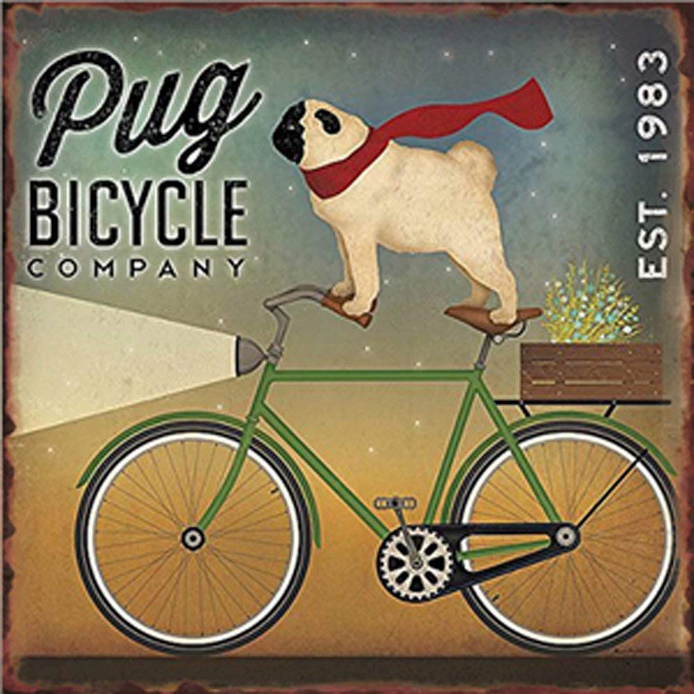 Easy Painter Pug Bicycle Retro Metal Tin Sign Poster Home Garage Plate Cafe Pub Motel Art Wall Decor 11.8x11.8 inch