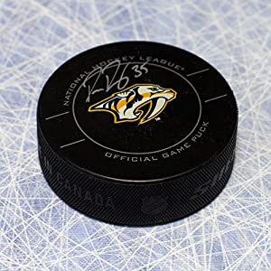 Pekka Rinne Nashville Predators Autographed Official Game Puck - Autographed Hockey Pucks