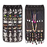 Jewelry Organizer Hanging Bag 40 Pockets & 20 Hook-and-loop Tabs Earrings Necklace Bracelet Holder Dual Sided Space-Saving Household Closet Accessory Storage Bag with Hanger (Black)