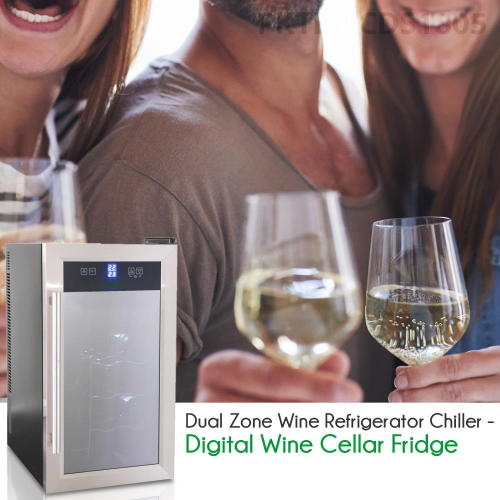 NutriChef Thermoelectric Wine Cellar - Red and White Wine Cooler- Dual Zone Wine Chiller - 18 Bottles Countertop Wine Refrigerator - LCD Display Digital Touch Controls – Great for Home or Events by NutriChef (Image #6)