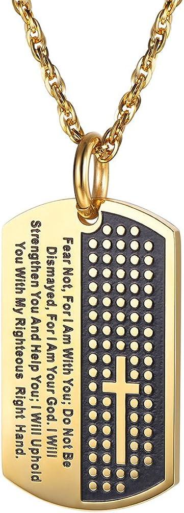 PROSTEEL Collar Personalizable Placa Militar de Bandera de los EEUU de Acero Inoxidable/Chapado en Oro 18K Dog Tag para Hombre Cadena 60cm Ajustable: Amazon.es: Joyería
