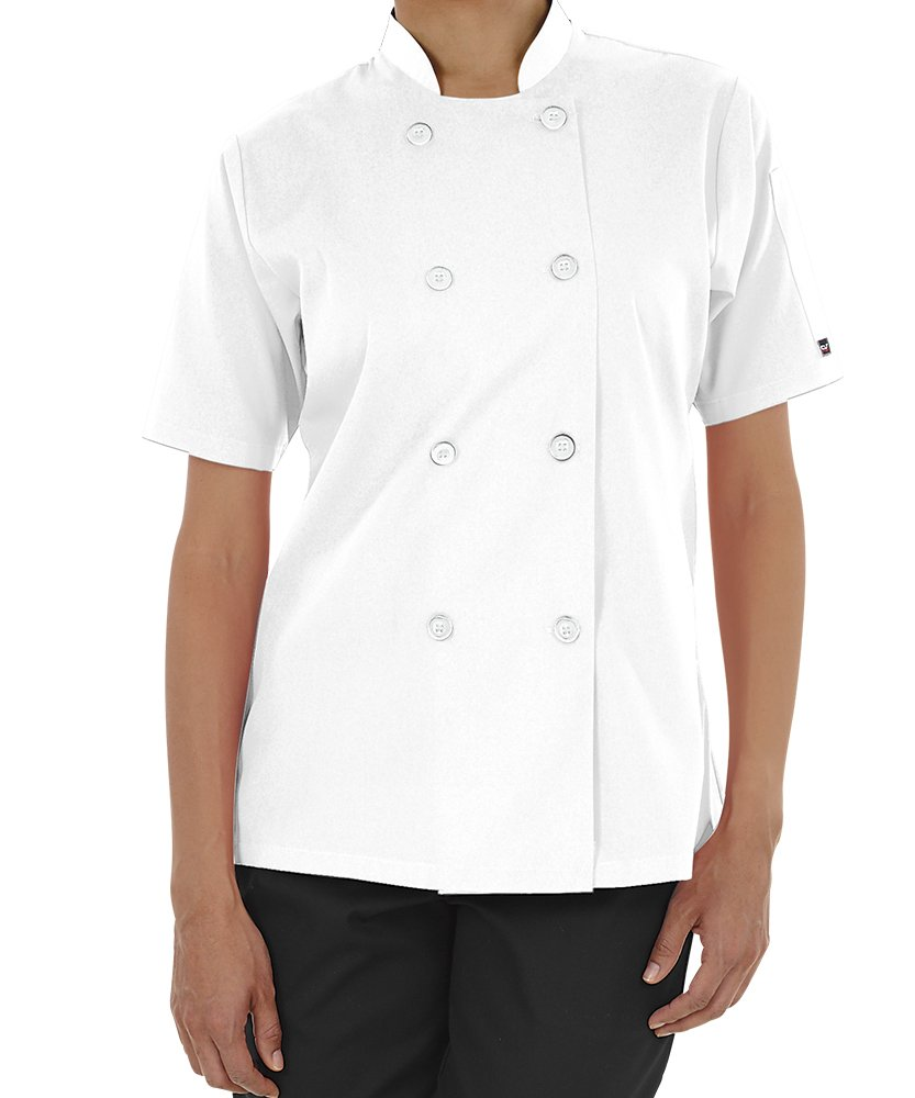 Women's Lightweight Short Sleeve Chef Coat (XS-3X, 3 Colors) (X-Small, White)