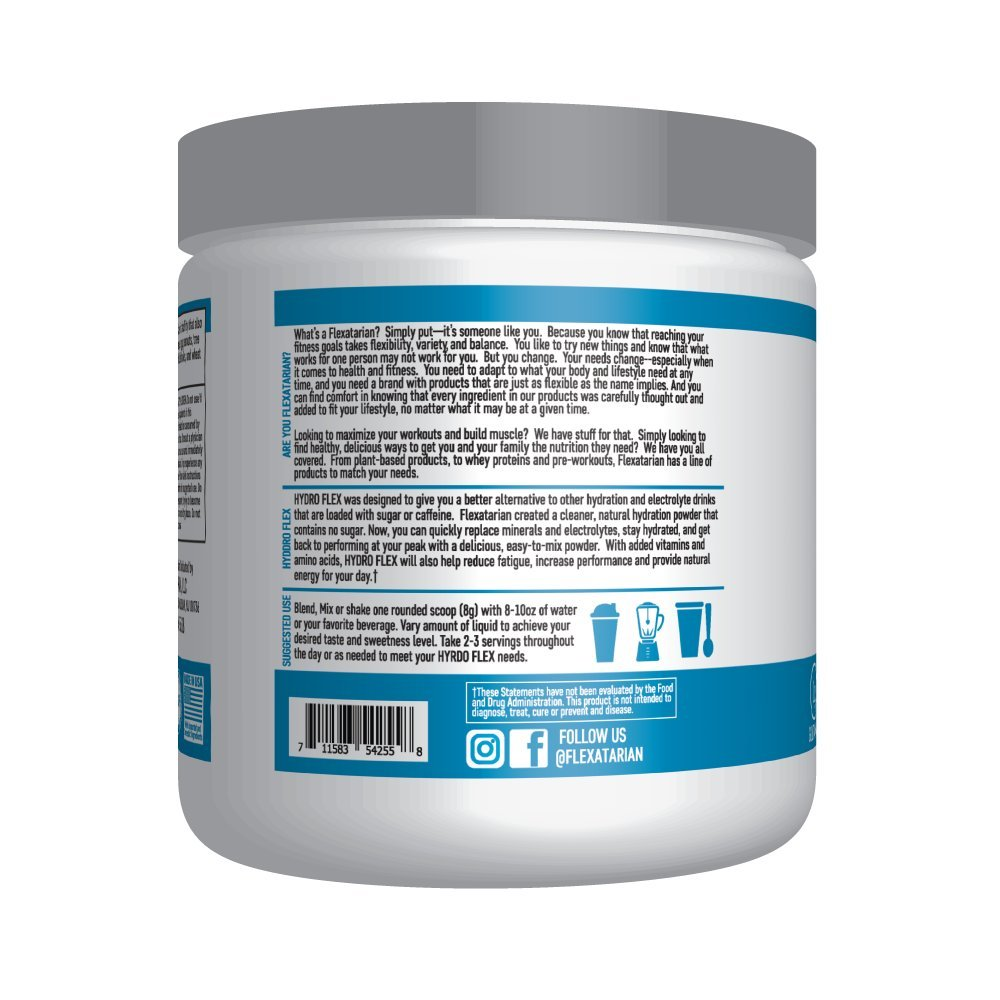 Flexatarian Hydro Flex, Natural Hydration Powder with BCAAs, Fruit Punch, 30 Servings by Flexatarian (Image #1)