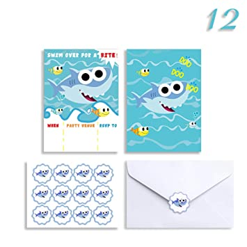 12 Shark Birthday Invitations With Stickers Envelopes Baby Shower Party Invitation Invites Cards For 1st Girls Or Boys