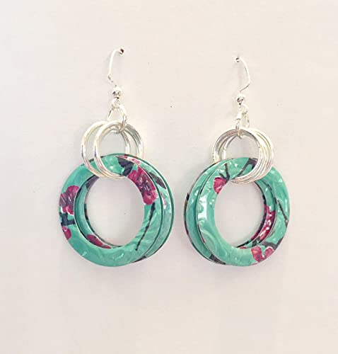 Small Circle Earrings. Arizona Tea. Recycled Green Art. DOUBLE-SIDED
