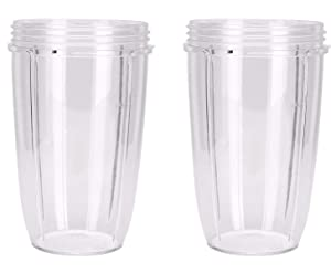 NutriBullet Replacement Cups (Tall - 24-Once) (Pack of 2) | NutriBullet Replacement Parts & Accessories | Fits NutriBullet 600w and Pro 900w Blender