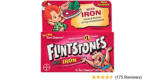 Amazon.com: Flintstones Chewable Multivitamins with Iron, 60 Count: Health  & Personal Care