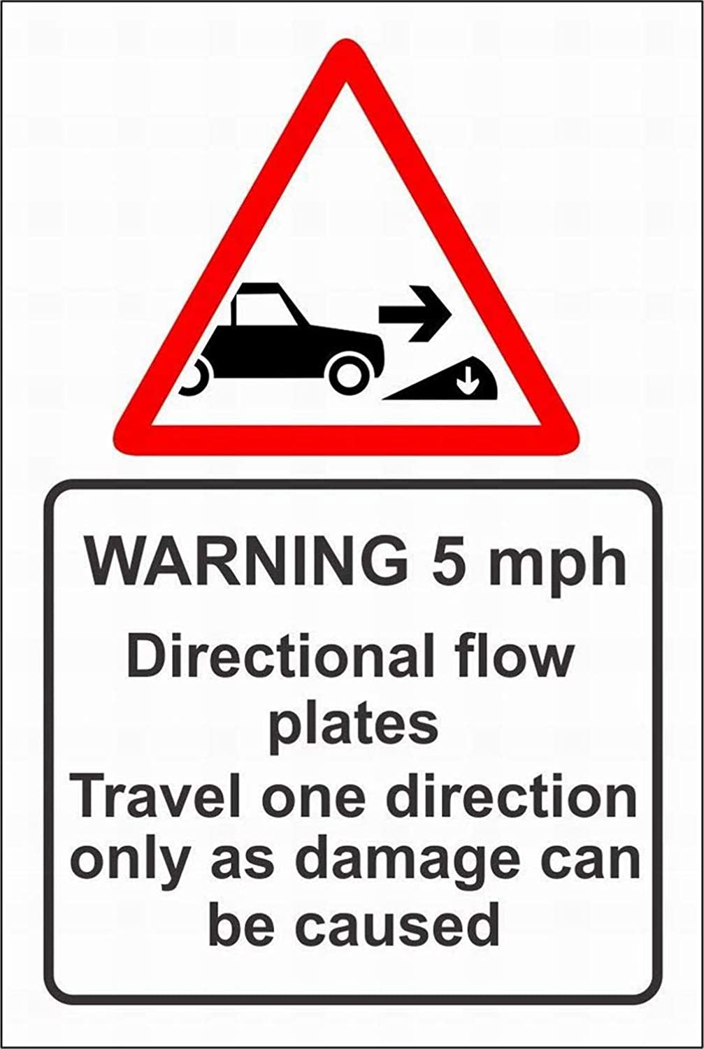 SUPVIVI Warning 5mph Directional Flow Plates Travel one Direction only as Damage can be Caused Sign Warning Danger Safety Notice Sign 8x12 Outdoor Street Sign