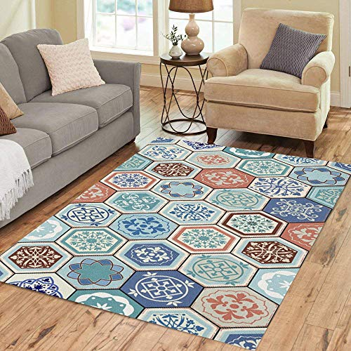 Pinbeam Area Rug Oriental Realistic Vintage Moroccan Portuguese Hexagonal Tiles Patchwork Home Decor Floor Rug 2' x 3' Carpet