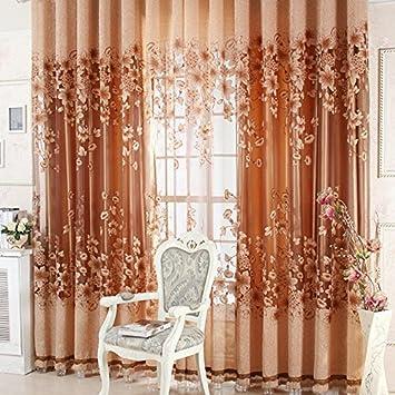 Rideaux de luxe de jacquard de luxe Tulle Voil (Café): Amazon.fr: Jardin