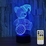 Night Light with Remote Controller LED Touch Table Desk Lamp 7 Colors Changing Optical Illusion Lights with Acrylic Flat ABS Base USB Charger for Room Decorative and Christmas Gifts (Christmas Bear)