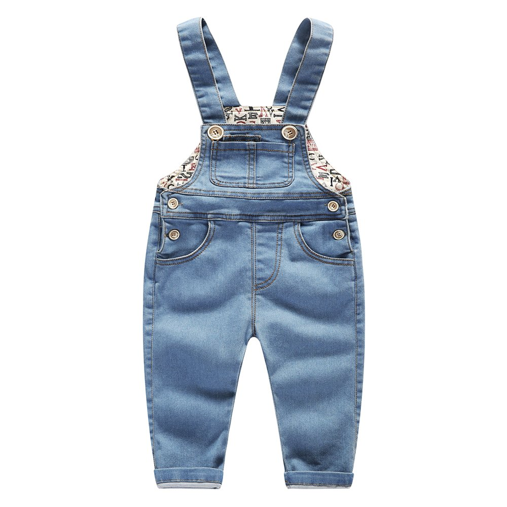 Kidscool Baby Little Boys Girls Stone Washed Big Bib Jeans Overalls