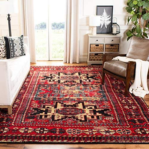 Safavieh Vintage Hamadan Collection VTH213A Antiqued Red and Multi Area Rug 6'7″ x 9'