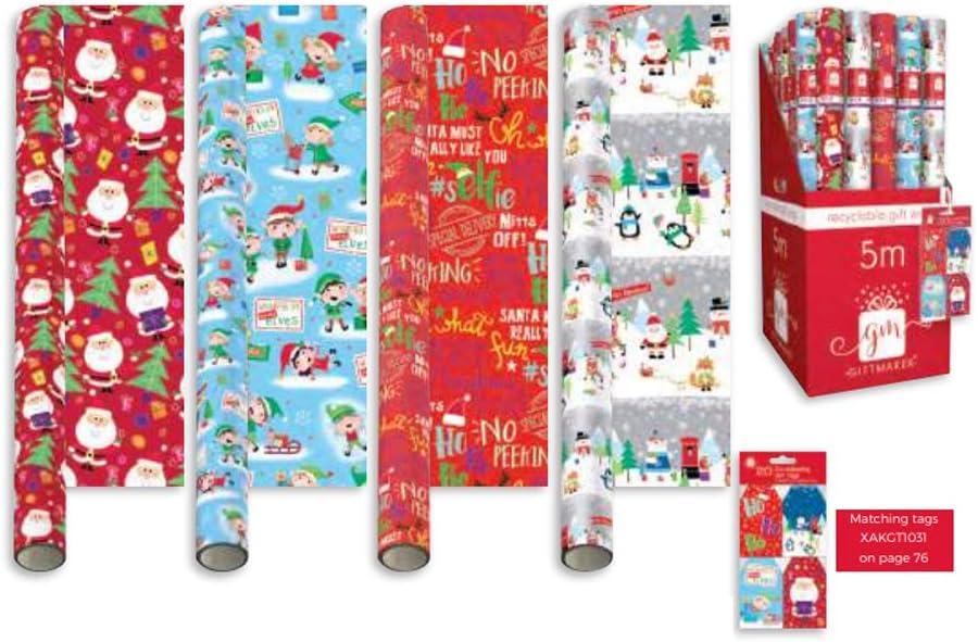 Cute Santa Designs Xmas Wrap Paper Santa Elves Penguin Polar St@llion 1 x Random Design Wrapping Paper Rolls