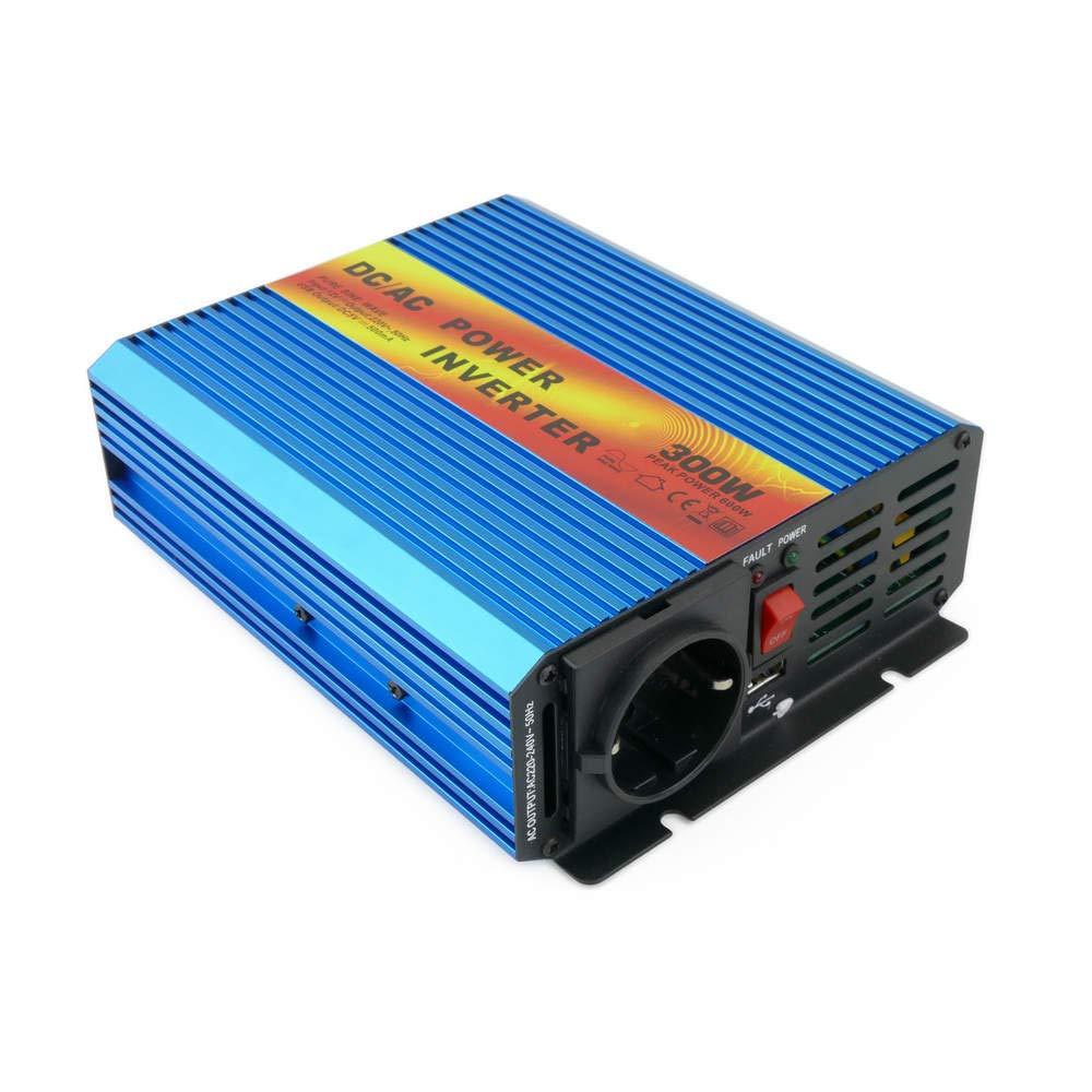 BeMatik - Inverter elettrico ad onda pura da 10~16VDC a 220VAC 300W USB solare BeMatik.com