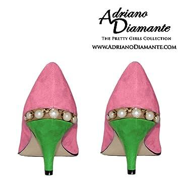 82903450886 Amazon.com : Pink Green High Heels Suede Pumps 2