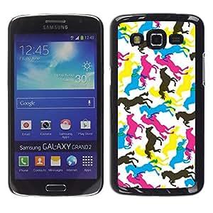 TopCaseStore / la caja del caucho duro de la cubierta de protección de la piel - Horses Colorful Art Random Wallpaper Horse - Samsung Galaxy Grand 2 SM-G7102 SM-G7105