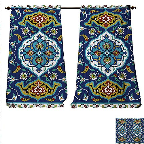 familytaste Decor Curtains by Authentic Oriental Motif with Vintage Byzantine Style Tile Effects Artwork Patterned Drape for Glass Door W108 x L84 Mustard Royal ()