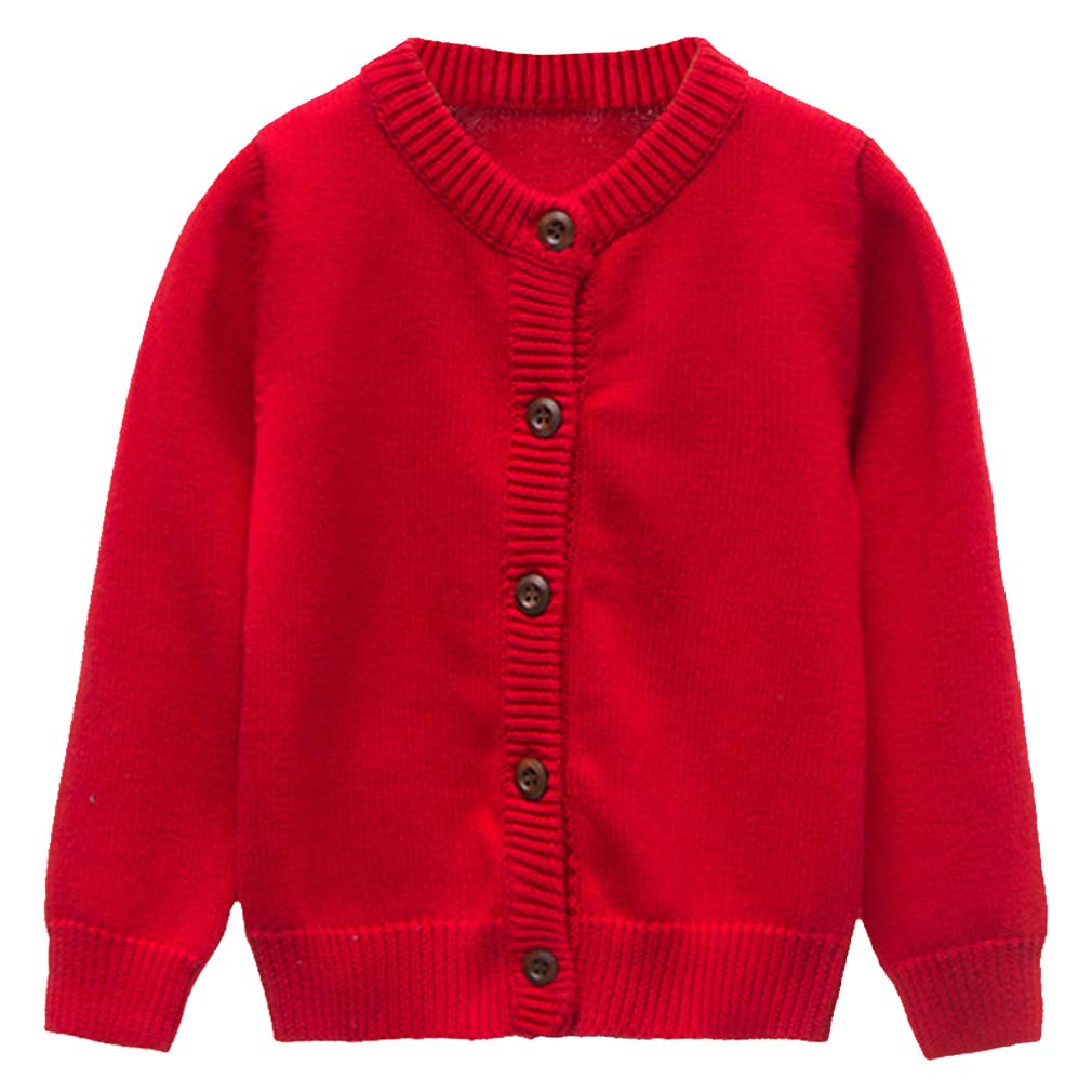 GLEAMING GRAIN Toddler Kids Knit Cardigan Sweaters Baby Boys Girls 100/% Cotton Solid Color Basic Sweater 18M-6T