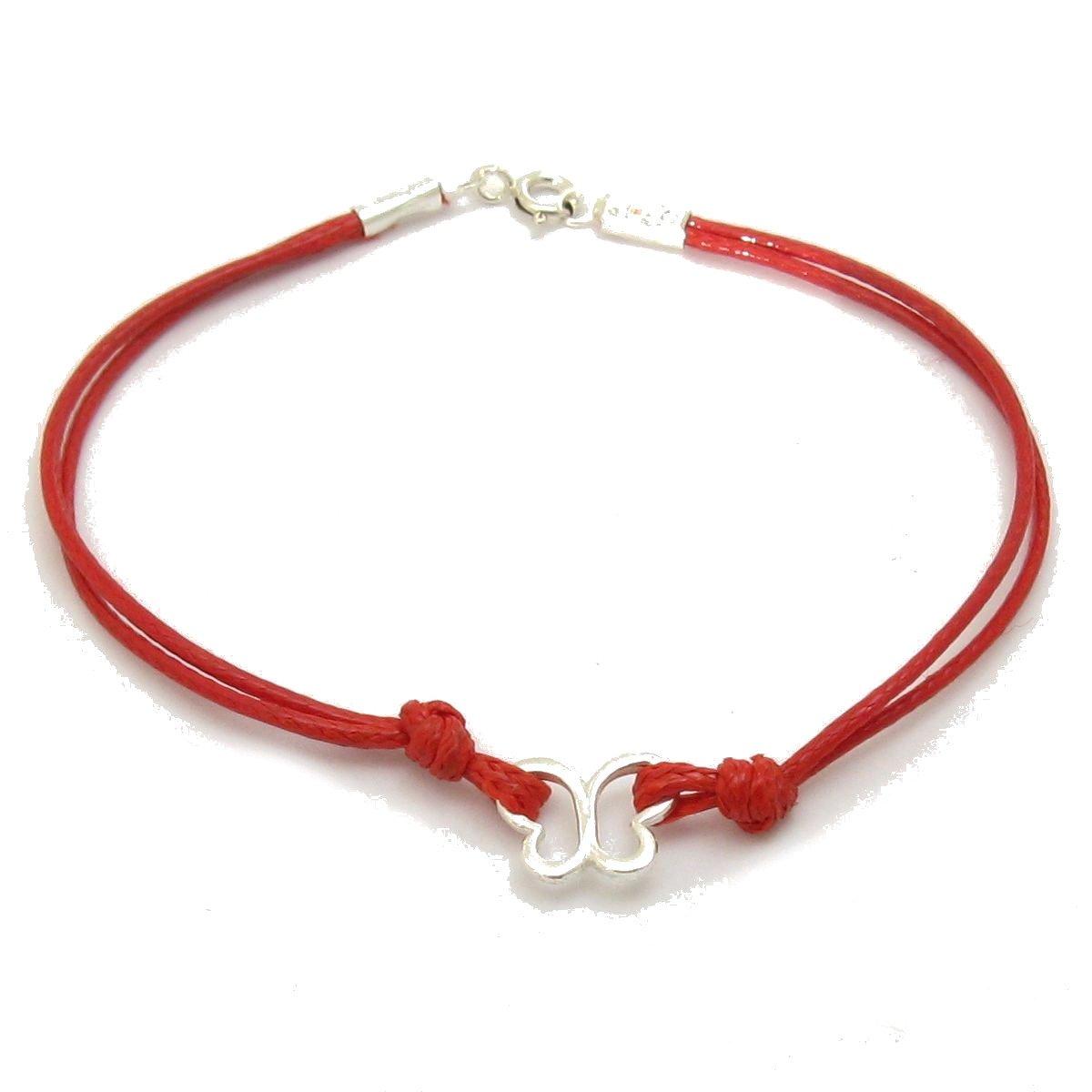 Pulsera de plata de ley 925 Mariposa con cuerda roja