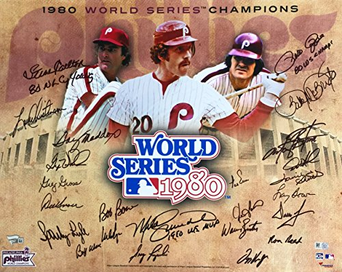 1980 Phillies Team Signed 24 Autos 16x20 Collage Photo Fanatics Schmidt Rose & More (Team Signed Collage)