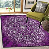 Purple Mandala, Bath Mats for Floors, Round Stylized Tibetan Healing Cosmos Spiritual Yoga Growth Tattoo Image, Bath Mat for tub Bathroom Mat 6x9 Ft White Purple