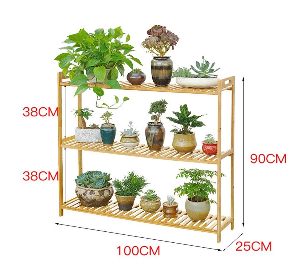 Blume Rack Bambus Multilayer Landung Wohnzimmer Fold Massivholz Blumenregal Balkon Blumentopf Rahmen ( größe : L100cm )
