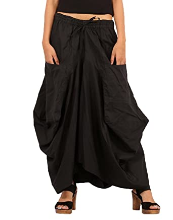 56888ff20fd Sarjana Handicrafts Women Cotton Solid Pockets Skirt Hippie Afghani Ethnic  (Black)  Amazon.co.uk  Clothing