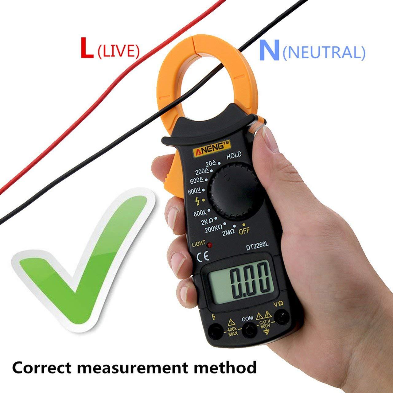 Jasnyfall Aneng Dt3266L Digital Clamp Amperemeter Ac Dc Amperemeter Diode Fire Wire Tester Schwarz