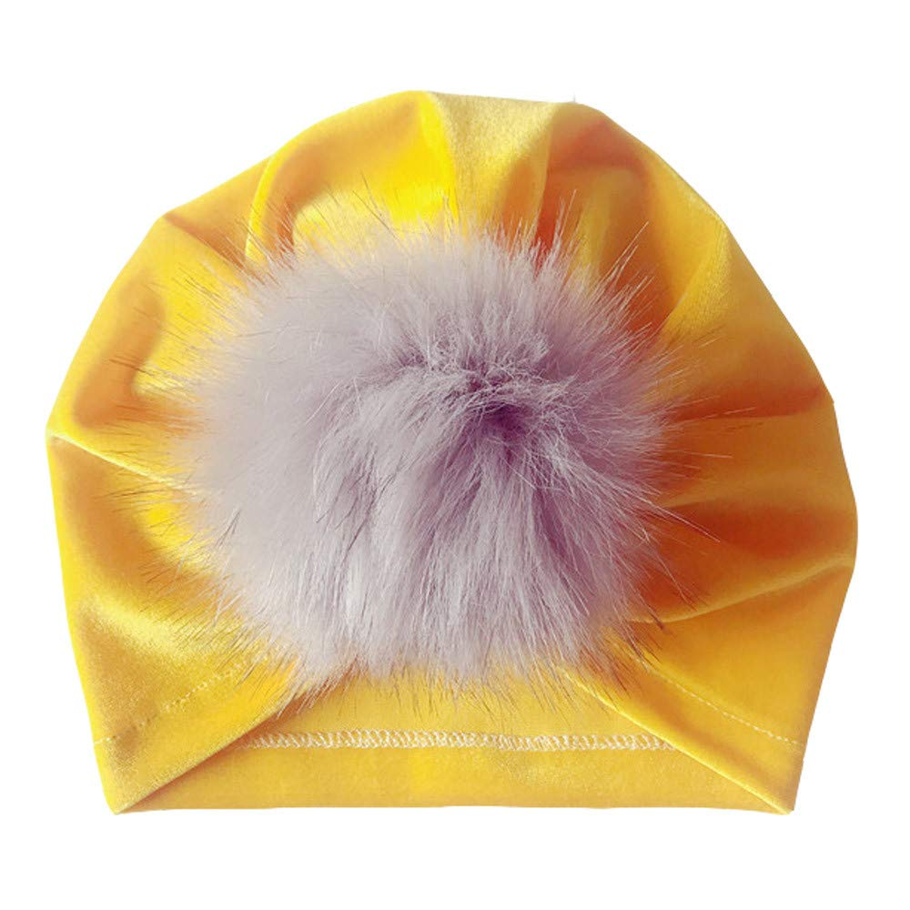 Kasien Kids Baby Hat, Newborn Toddler Kids Baby Boy Girl Venonat Turban Beanie Hat Headwear Hat (Yellow)