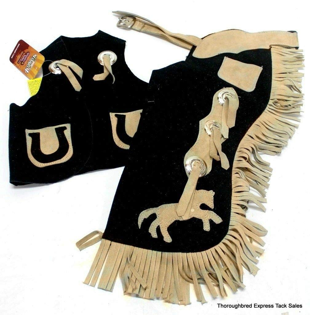 Tough Kids Black and Tan Suede Vest & Chap Set w/Horse Design Child Small Horse Tack