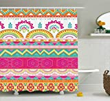 Hot Pink Fabric Shower Curtain Ambesonne Ethnic Shower Curtain, Charming Embellished Folkloric Bohemian with Flowers Triangles Artwork, Fabric Bathroom Decor Set with Hooks, 75 inches Long, Hot Pink Seafoam Orange