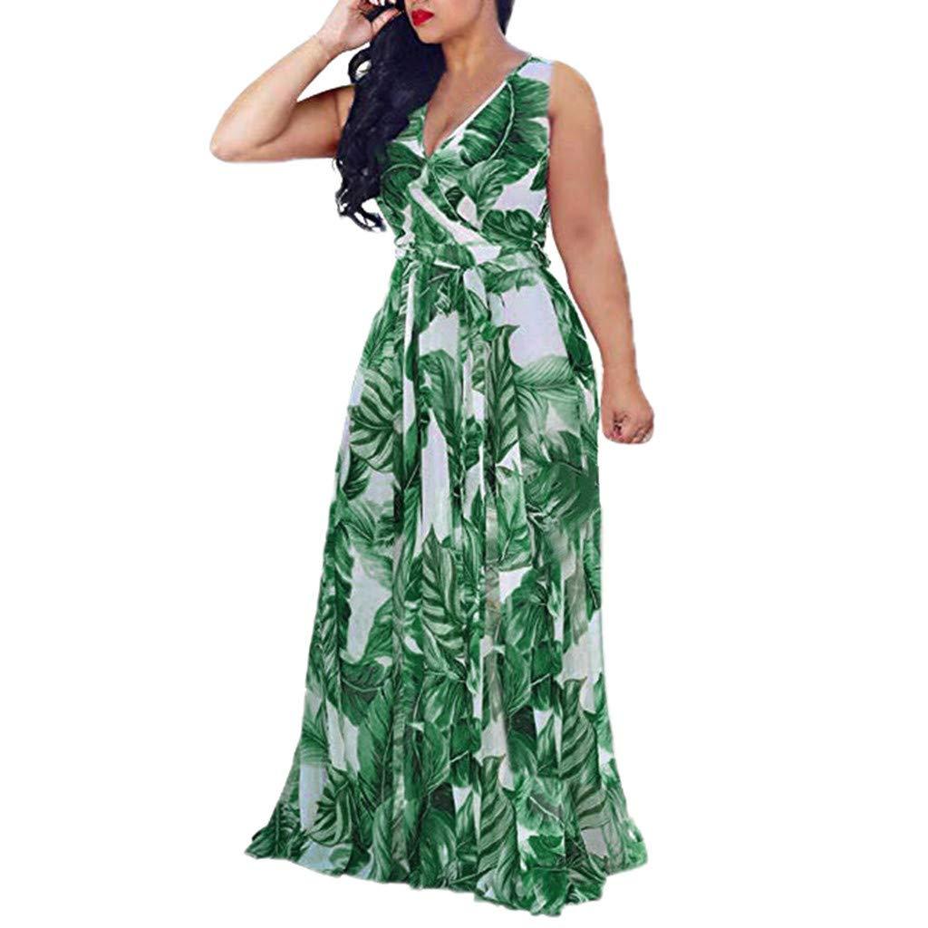 Startview Womens Stylish Printed Floral Maxi Dress, Chiffon V-Neck Dress with Waisted Belt Plus Size (Green, L)